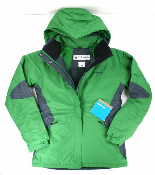 美國百分百【全新真品】Columbia 哥倫比亞 女版 保暖外套 連帽風衣 寒冬款 綠色 XL號