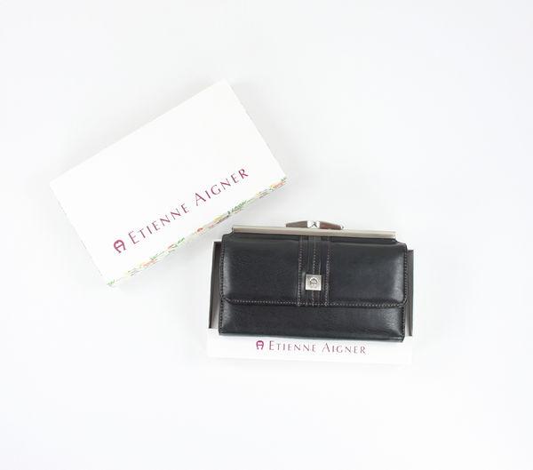 美國百分百【Etienne Aigner】愛格納 女用 長夾 皮夾 錢包 皮包 黑色皮革 扣環式 美國寄件