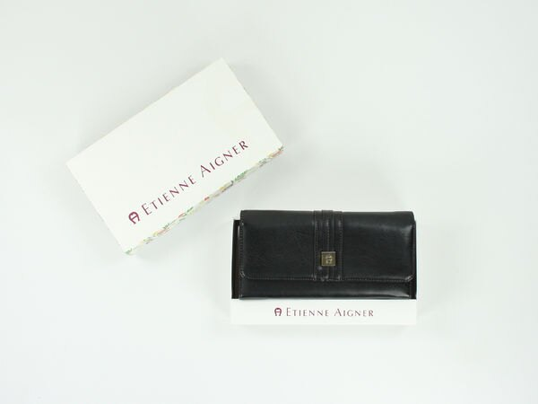美國百分百【Etienne Aigner】愛格納 女用 長夾 皮夾 黑色皮革 錢包 皮包 全新真品 美國寄件