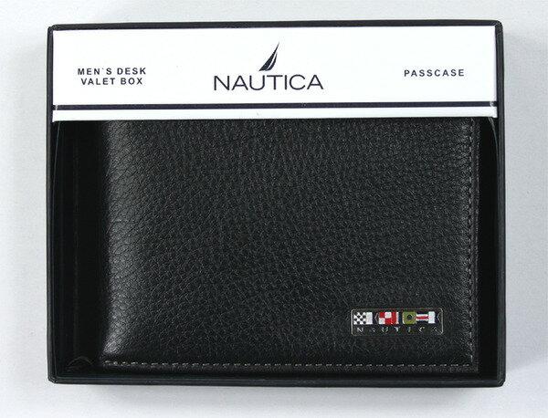 美國百分百~ ~Nautica 男飾品 黑色真皮 皮夾 短夾 美國空運回台 帆船