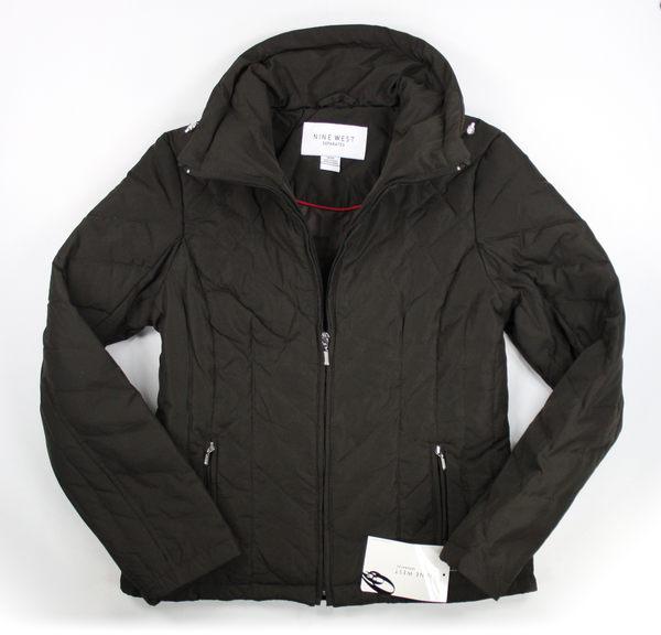 美國百分百【全新真品】Nine West 外套 羽絨外套 立領夾克 保暖上衣 黑色 女 菱格 C765