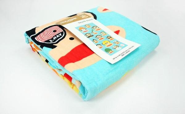美國百分百:美國百分百【全新真品】PaulFrank大嘴猴可愛風水藍浴巾大毛巾海灘巾大SIZE純棉厚