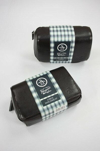 美國百分百【Penguin by Munsingwear】企鵝牌 格紋 皮革包 清潔用品 皮鞋油 咖啡 黑 刷具 擦拭布