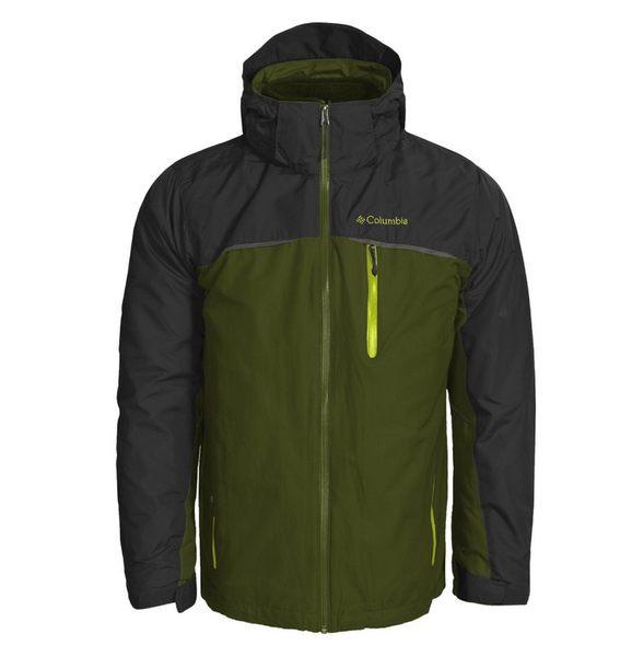 美國百分百【哥倫比亞】Columbia 3-in-1 男 兩件式 防寒外套 防水夾克 大衣 收納帽 深綠灰 L號