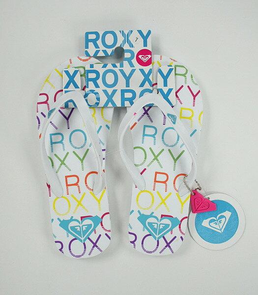美國百分百【全新真品】ROXY 女生 衝浪 海灘 夾腳拖 拖鞋 人字拖 彩色 logo款 附吊飾 7號