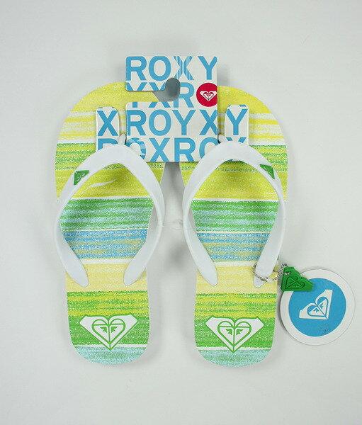 美國百分百【全新真品】ROXY 女款 海灘 拖鞋 人字拖 夾腳拖鞋 綠色 條紋 附吊飾 8號 超取