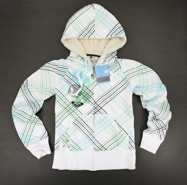 美國百分百【全新真品】ROXY 外套 衝浪 米白 青綠 斜條紋 格紋 帽T 連帽 外套 S號 女衣 A291