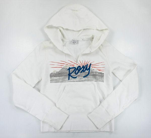 美國百分百【全新真品】Roxy 渡假款 美式風 女生 連帽T 長袖 T恤 上衣 白色 L號 A291