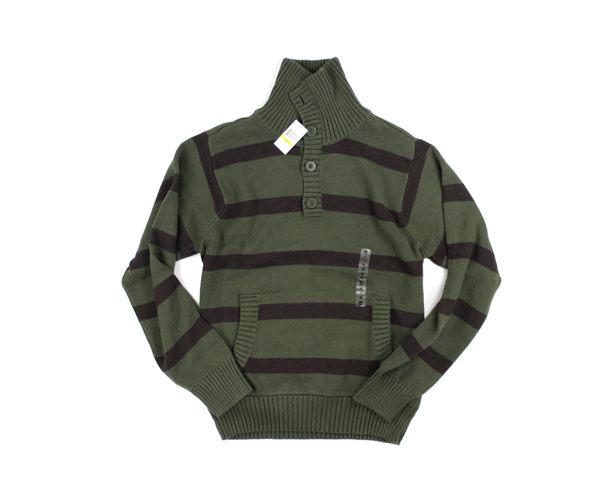 美國百分百【全新真品】Timberland 型男 條紋 四扣 高領 造型 針織衫 保暖 棉質 上衣 墨綠