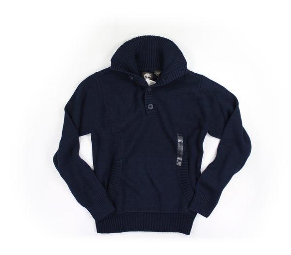 美國百分百【全新真品】Timberland 男生 針織衫 保暖上衣 外衣 棉T 深藍色 厚棉 美國寄件