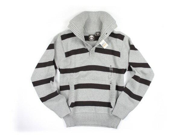 美國百分百【全新真品】Timberland 型男 條紋 四扣 高領 造型 針織衫 保暖 棉質 上衣 灰 咖啡