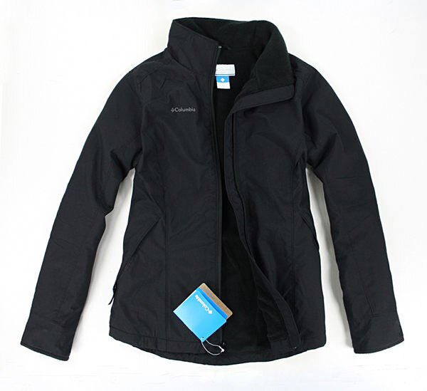 美國百分百【全新真品】Columbia 哥倫比亞 女版 腰身 黑色 鋪棉 拉鍊 外套 夾克 短大衣 S號