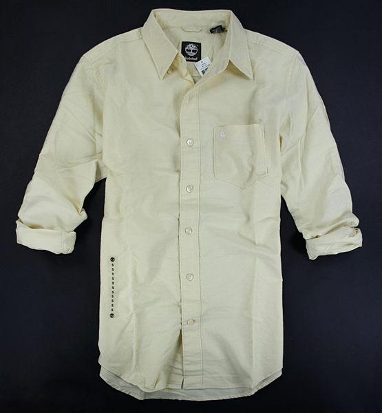 美國百分百【全新真品】Timberland 冬款 純棉 厚版 鵝黃色 長袖 素面 襯衫 口袋 S號 板橋門市