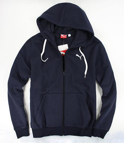 美國百分百【全新真品】PUMA 外套 男用 連帽 休閒 運動 夾克 棉質 帽T 深藍色 M號 C041