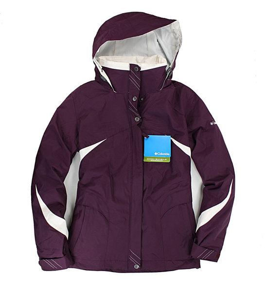 美國百分百【哥倫比亞】Columbia 兩件式 櫻花 線條 女款 鋪棉 防寒 防水 外套 收納帽 深紫 預購