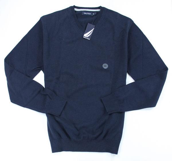 美國百分百【全新真品】Nautica 帆船牌 男生 V領 長袖 素面 針織 上衣 毛衣 薄款 M號 深藍色