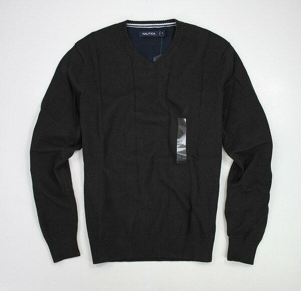 美國百分百【全新真品】NAUTICA帆船牌咖啡V領素面針織衫棉質長袖上衣毛衣SM特價