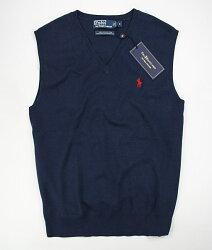美國百分百【全新真品】Ralph Lauren RL polo 深藍 V領 素面 針織 背心 上衣 男款 經典款 S M