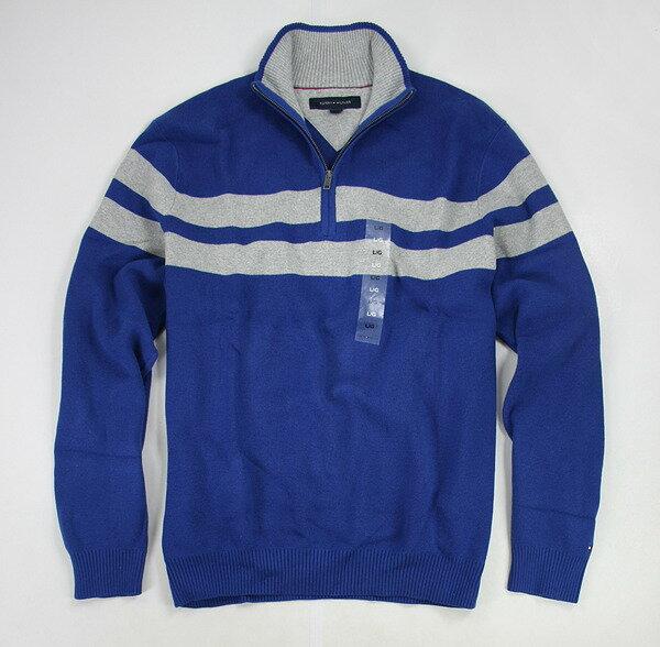 美國百分百【全新真品】Tommy Hilfiger TH 半拉 翻領 條紋 針織衫 毛衣 外搭 上衣 外套 寶藍