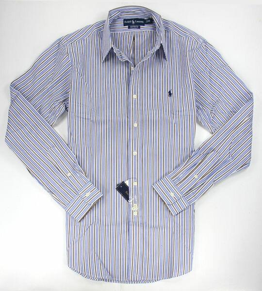美國百分百【全新真品】Ralph Lauren 型男 休閒 長袖襯衫 藍色 線條 RL 超商取 美國寄件