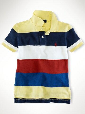 美國百分百【全新真品】Ralph Lauren Polo衫 RL 童衣 男 童裝 短袖 上衣 黃色 彩色條紋 5歲 C788