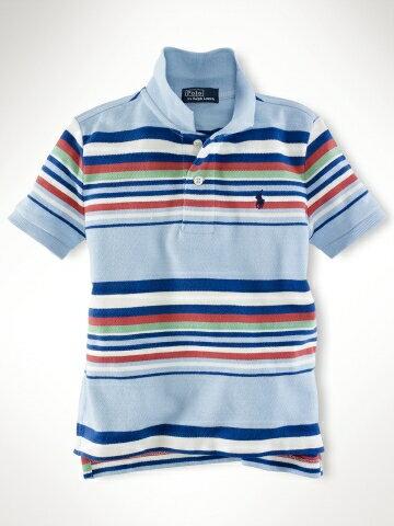 美國百分百【全新真品】Ralph Lauren RL 小馬 橫紋 彩條 Polo衫 男童 童裝 上衣 淡藍色 5 6歲可穿 C783