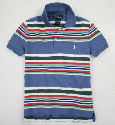 美國百分百【全新真品】Ralph Lauren Polo衫 RL 童衣 男 小馬 條紋 童裝 短袖 上衣 深藍 5 6歲 C783