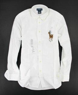 美國百分百【全新真品】RalphLauren大彩馬牛津布POLO厚版男款長袖襯衫白色XSS號RL上衣B017