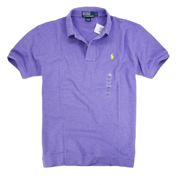美國百分百【全新真品】Ralph Lauren 網眼 素面 Polo衫 男生 短袖 上衣 美國 純棉 紫色 黃馬 RL