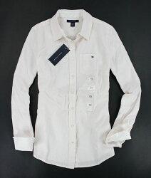 美國百分百【全新真品】Tommy Hilfiger TH 女襯衫 上班 工作 學生 條紋 淡粉紅 長襯衫 XS M號