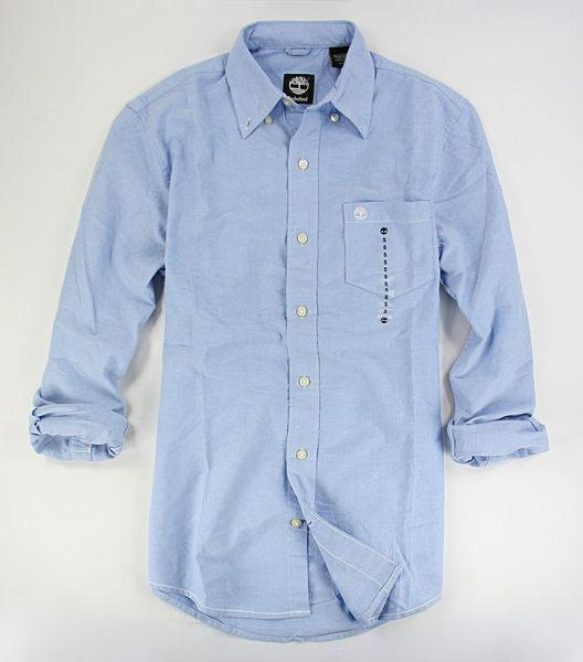 美國百分百【全新真品】Timberland 冬款 純棉 厚版 天空藍 長袖 素面 襯衫 口袋 S M L 門市