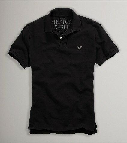 美國百分百【全新真品】American Eagle AE AEO 基本 素面 黑色 短袖 網眼 Polo衫 可超取
