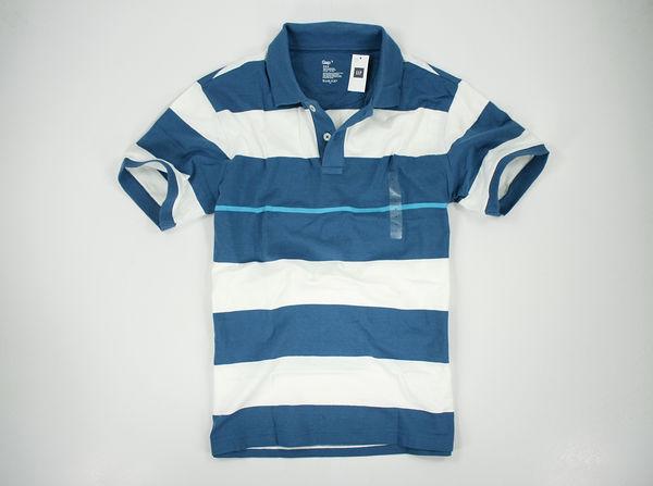 <br/><br/>  美國百分百【全新真品】GAP 短袖 POLO衫 藍白條紋 上衣 休閒衫 棉質 L號 超優惠 C286<br/><br/>