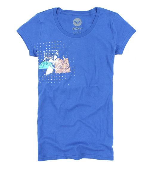 美國百分百【全新真品】ROXY 春夏季 新款 女長版 T恤 薄 瘦 亮藍色 海灘 圓點點 設計 美國