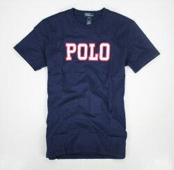 美國百分百【全新真品】Ralph Lauren RL 男 深藍 短袖 上衣 紅色 POLO 素面 文字T XS號 美國
