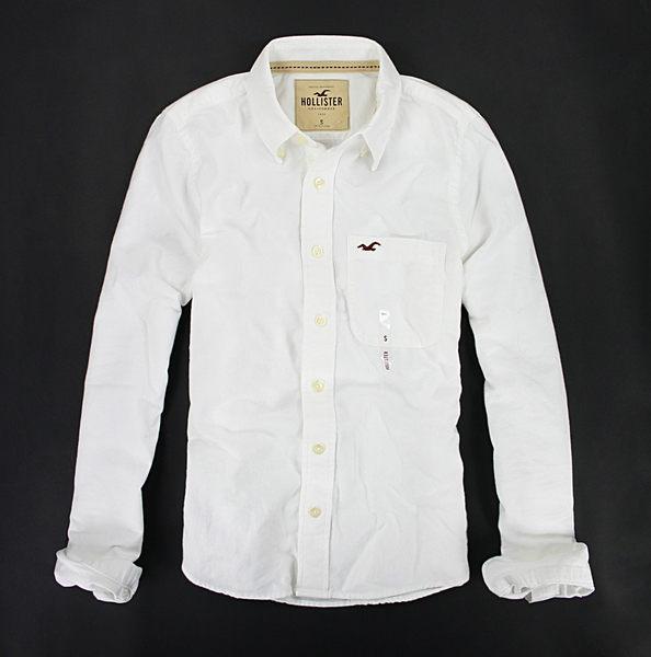 美國百分百~ ~Hollister co 純白色 長袖 海鷗 口袋 襯衫 厚綿質 男 上衣