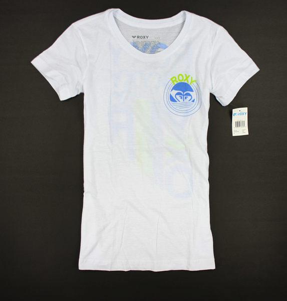 美國百分百【全新真品】ROXY 女 長版 流行 上衣 T恤 白色 英文 修飾 身材 S M 號 空運回台