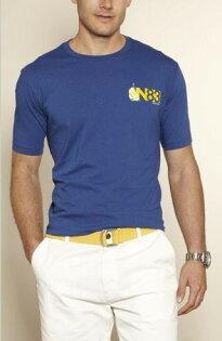 美國百分百【全新真品】nautica帆船藍色100%純棉男穿搭上衣短袖數字83T恤美國寄件