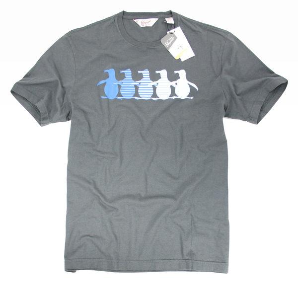 美國百分百【全新真品】Penguin by Munsingwear 企鵝牌 男生 T-shirt T恤 圖案T 灰色 M號