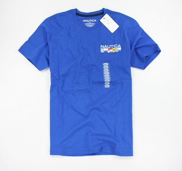 美國百分百【全新真品】Nautica 帆船牌 特色T 國旗T 男 圖案T T-shirt 短袖 T恤 寶藍 棉T