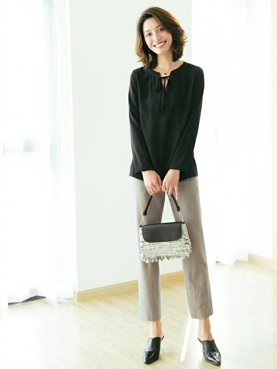 秋裝新款蝴蝶結系帶寬鬆顯瘦垂感長袖襯衣