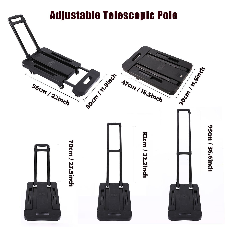 6 Wheels Folding Hand Trucks Load Foldable Luggage Cart Telescopic Rod 4