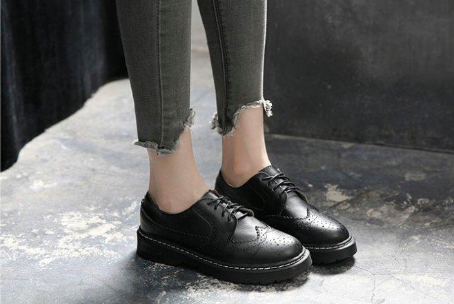 Pyf ♥ 布洛克英倫風 復古經典牛津鞋 真皮雕花皮鞋 43 大尺碼女鞋