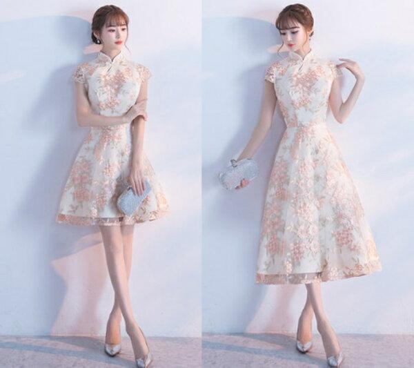 天使嫁衣【MSMD215】立領包袖剌繡織花甜美復古中式禮服˙預購客製款