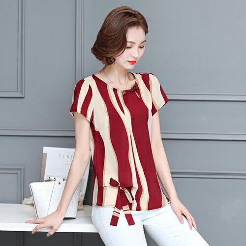 短袖印花雪紡衫(2色M~3XL)【OREAD】 0