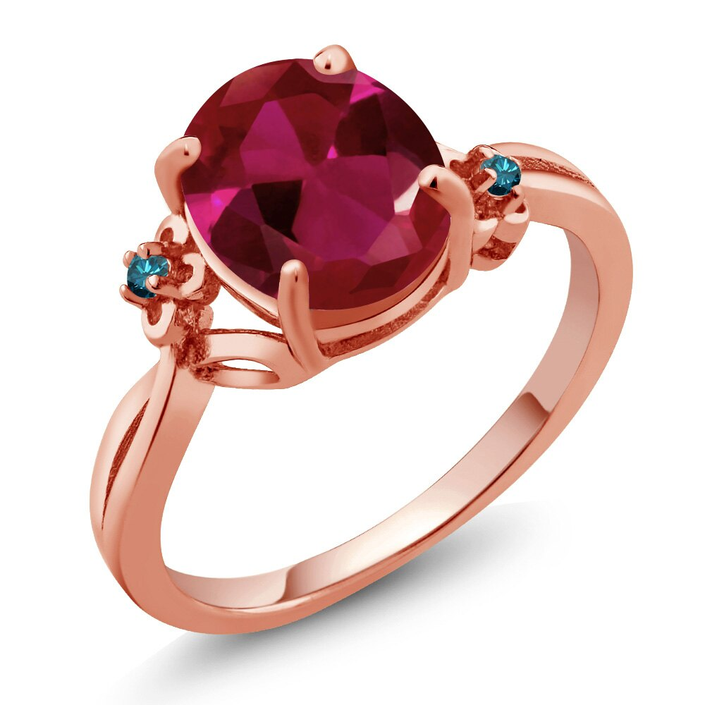 2.53 Ct Oval Red Created Ruby Blue Diamond 18K Rose Gold Plated Silver Ring 0