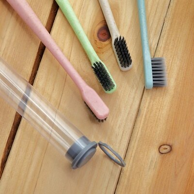 牙刷(一組4支)-小麥秸桿便攜竹炭軟毛牙刷(顏色隨機)73pp514【獨家進口】【米蘭精品】 2