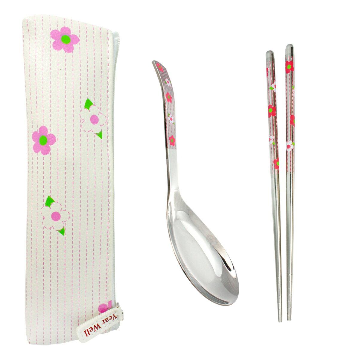 GREEN BELL綠貝 粉紅小花不鏽鋼環保餐具組 (含筷子+湯匙+收納袋)