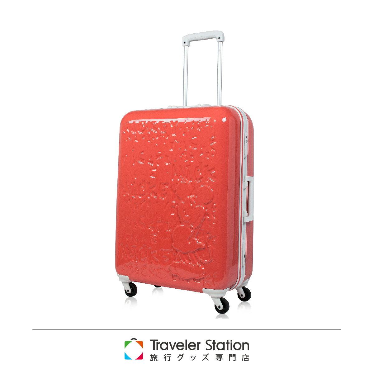 【日本 Disney】夢想米奇拉桿箱19.5吋 行李箱 / 旅行箱-日出紅