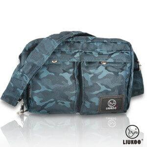 LIUKOO戰地叢林迷彩系列 ~ 雙口袋 防潑水小容量側背包 ~~沉穩藍~